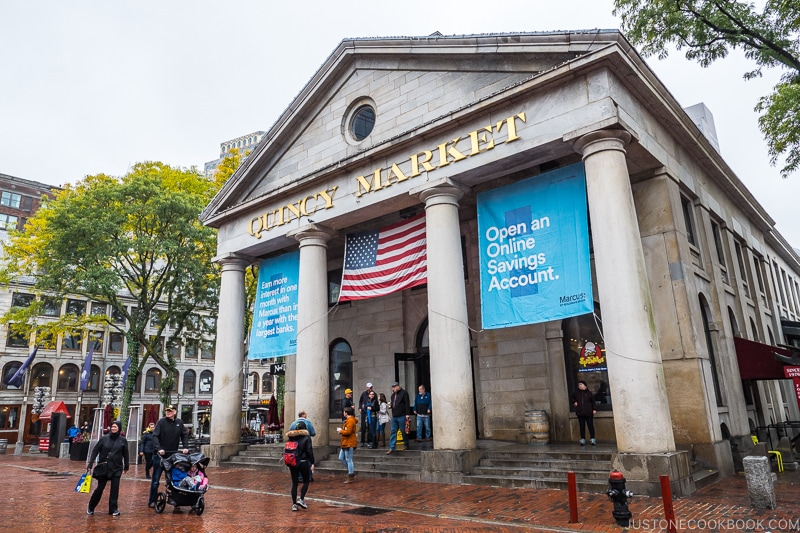 exterior of Quincy Market front entrance with four large columns