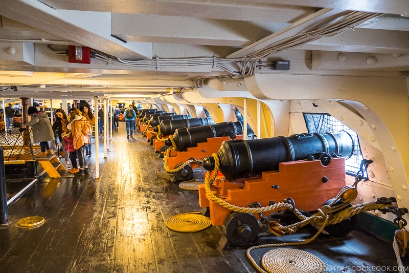 canon lined up on the right inside USS Constitution