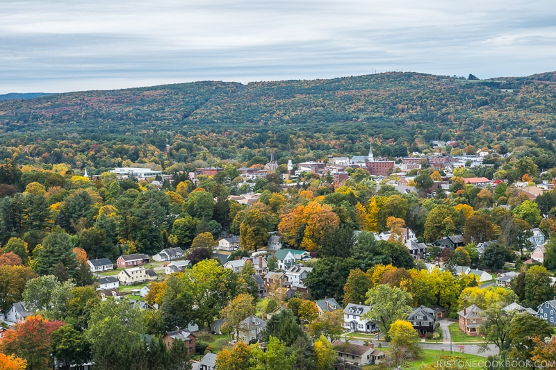view of the town of Greenfield and hills in the back