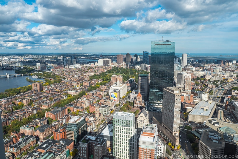 view of downtown Boston from Skywalk looking east
