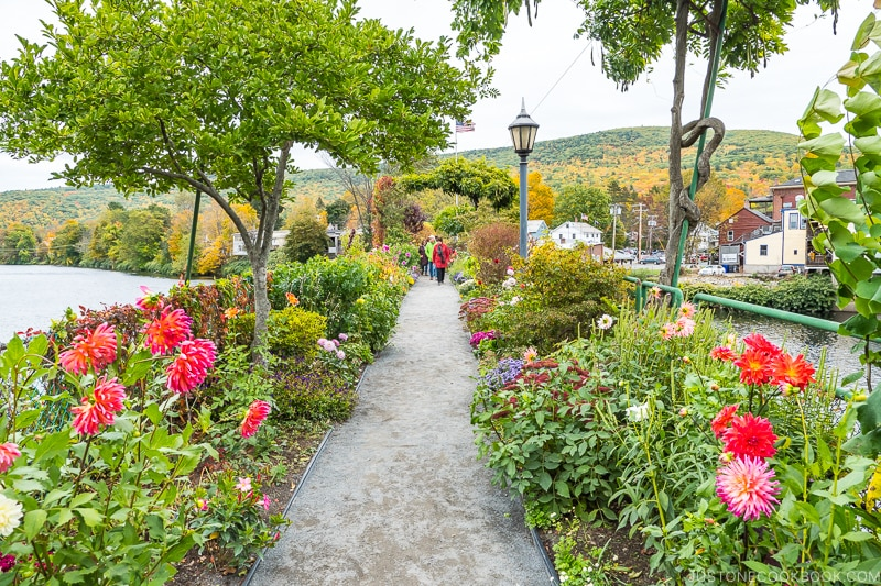 Bridge of Flowers - walking path surrounded by flowers in Shelburne Falls