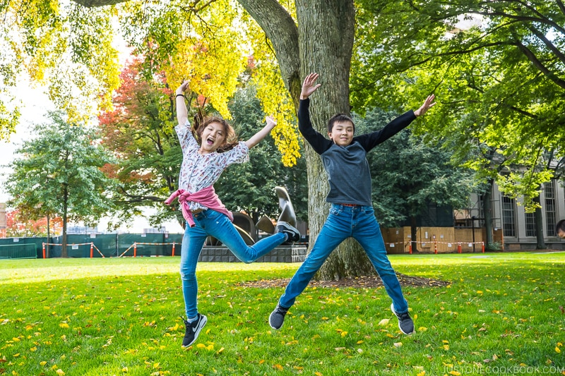 two children jumping in the air