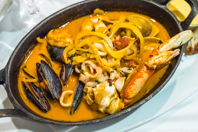 seafood stew in a cast iron pan
