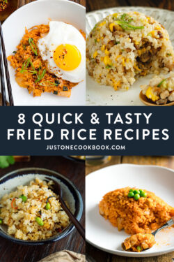 collage of fried rice recipes