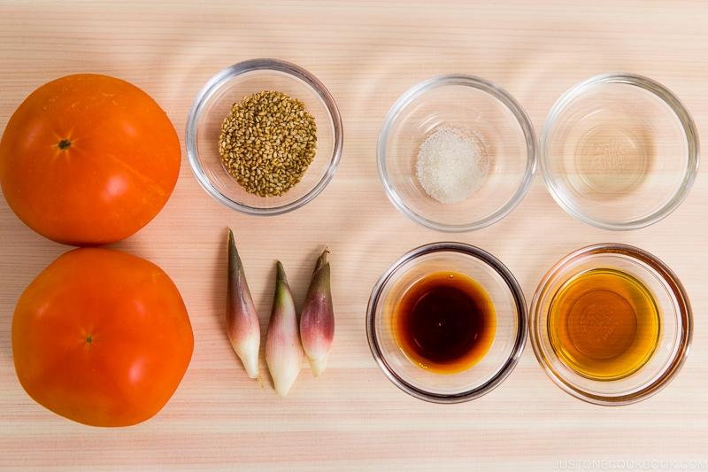 Tomato Myoga Salad Ingredients