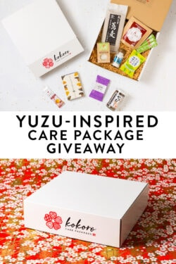Yuzu Inspired Care Package from Kokoro Care Packages featuring yuzu salt, yuzu soba, yuzu juice and more