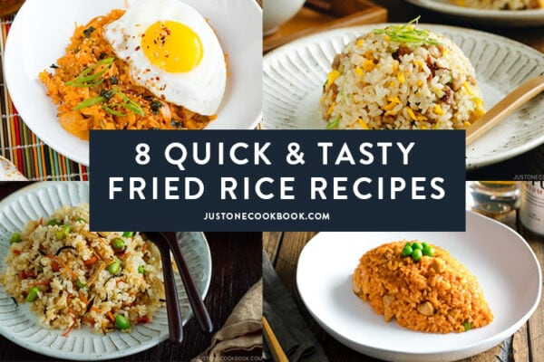 collage of easy fried rice recipes