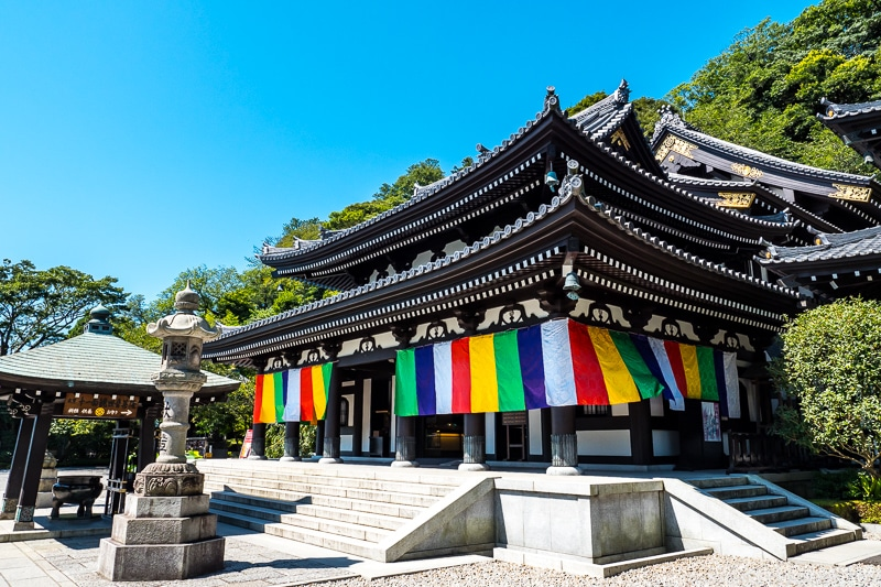 temple with colorful curtains