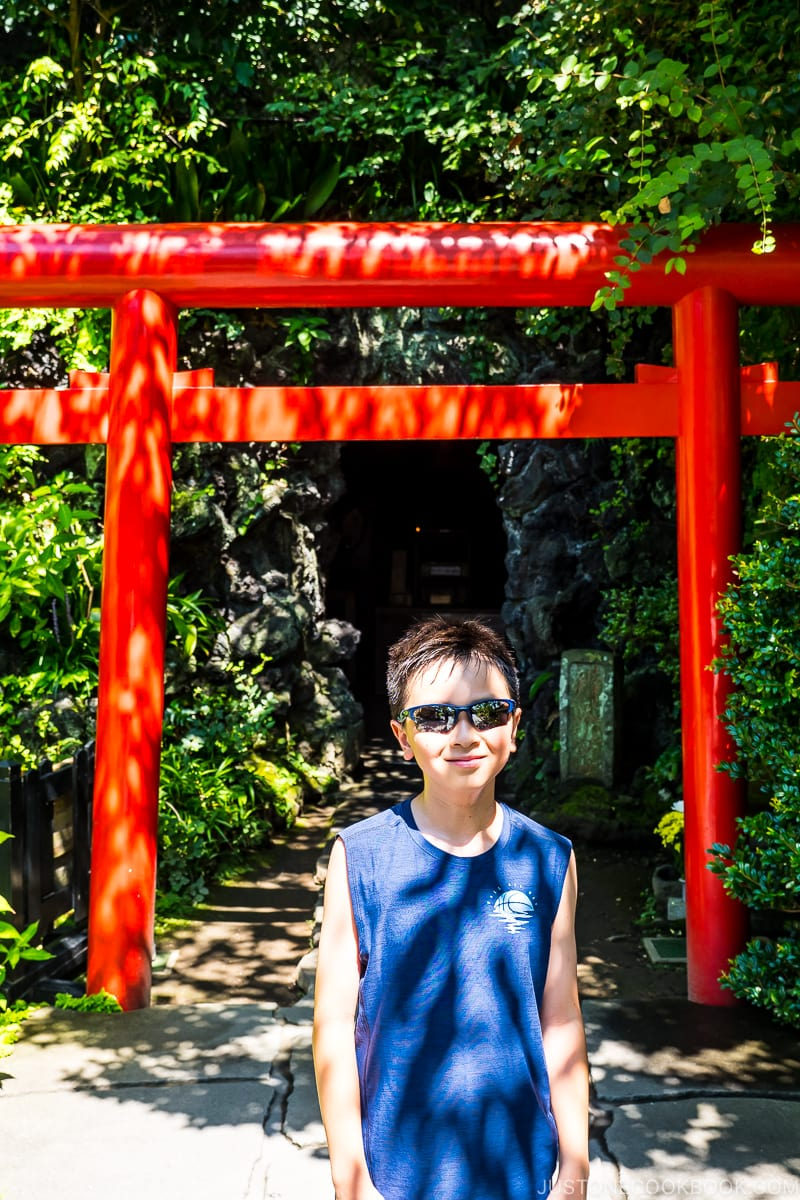 a boy standing in front of torii gate