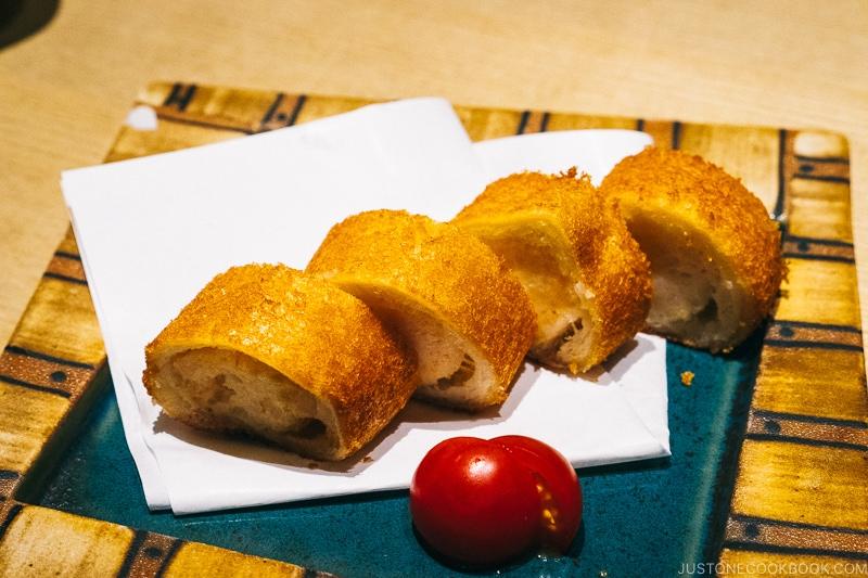hatoshi shrimp paste inside bread and deep fried