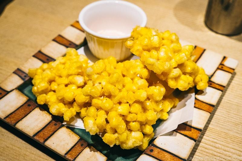 deep fried corn kakiage