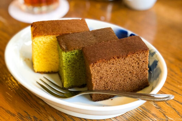 chocolate, matcha, and regular castella cake