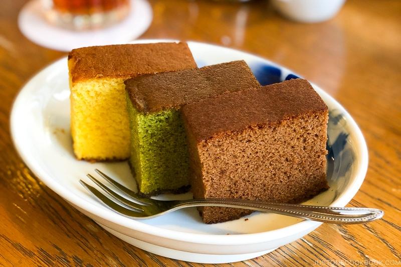 chocolate, matcha, and regular castella cake