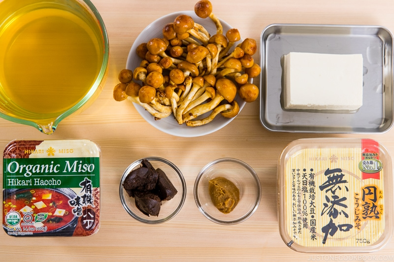 Nameko Mushroom Miso Soup Ingredients