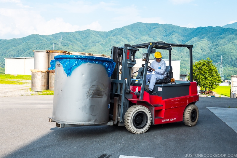 miso container on a fork lift