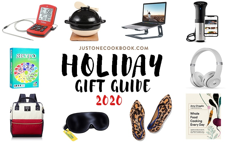 Just One Cookbook annual gift guide 2020 featuring laptop stand, sous vide cooker, silk eye mask, thermoworks chef alarm, Amy Chaplin Cookbook & more