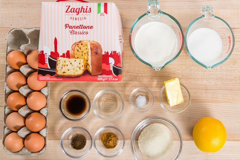 Panettone Bread Pudding Ingredients