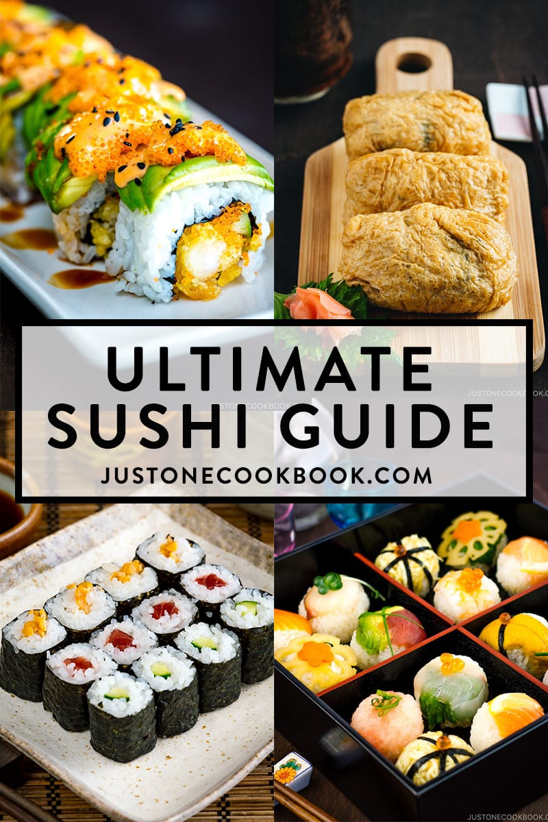 a collage of sushi featuring sushi rolls, dragon roll, temari sushi and inari sushi