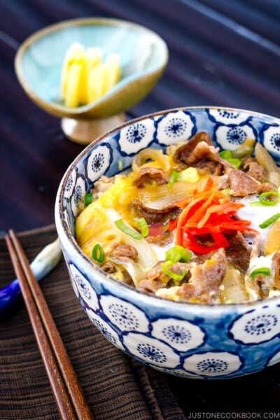A bowl containing simmered beef, onion, and egg over steamed rice.