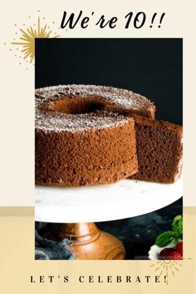 graphic of chocolate cake celebrating JOC 10th anniversary