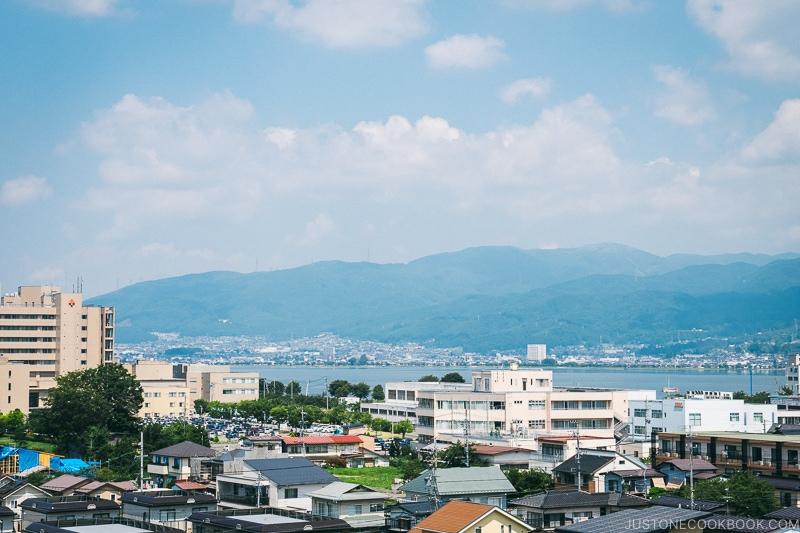 view of Lake Suwa from Takashima Castle