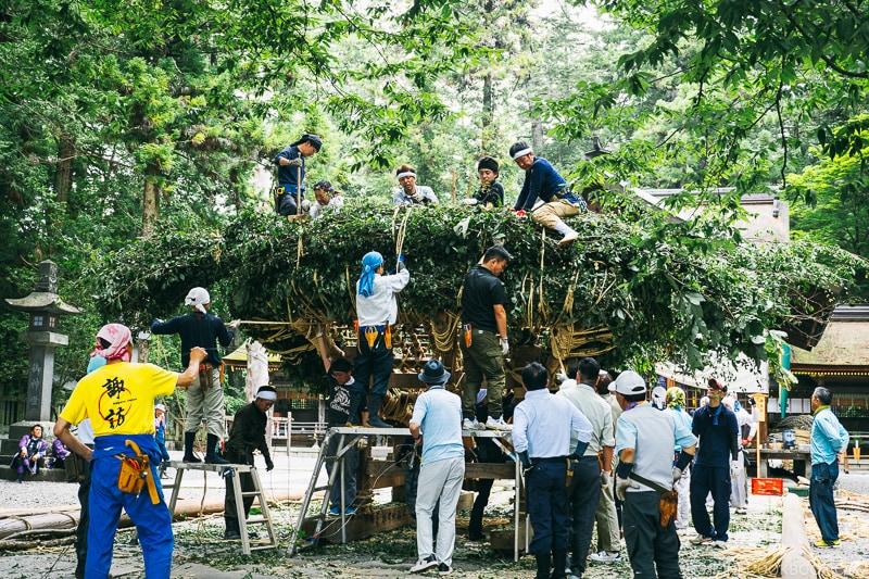 works preparing for shrine festival