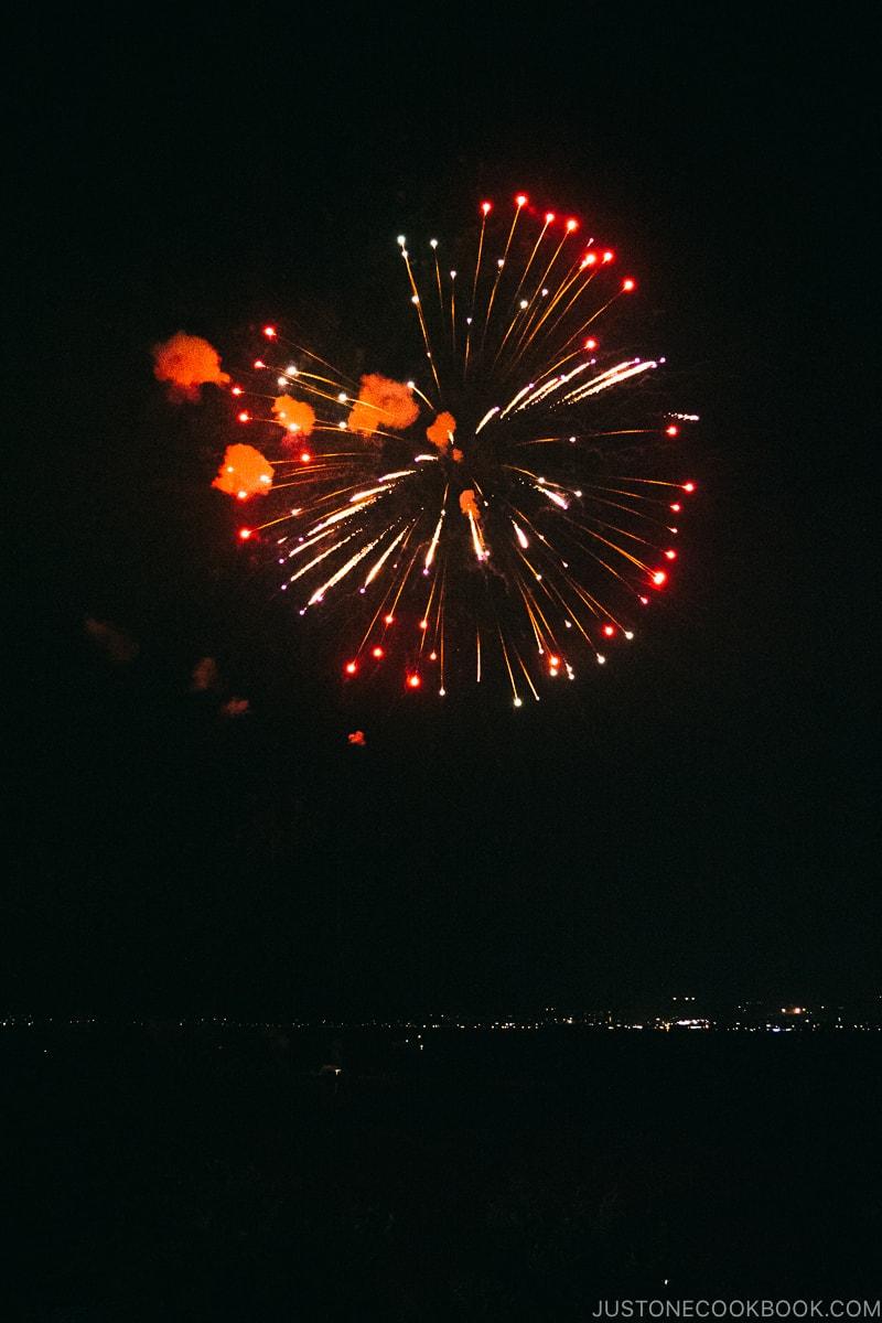 fireworks over Lake Suwa