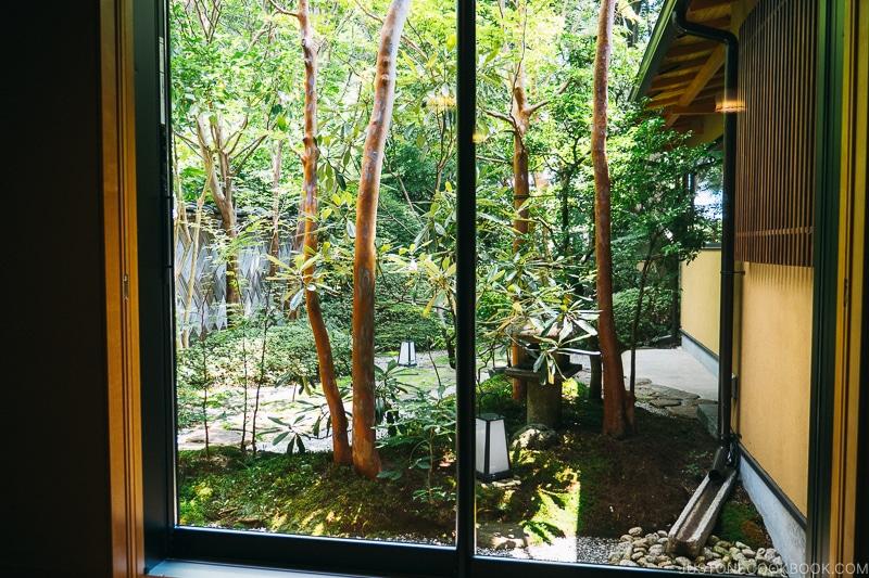 view of a Japanese garden through window