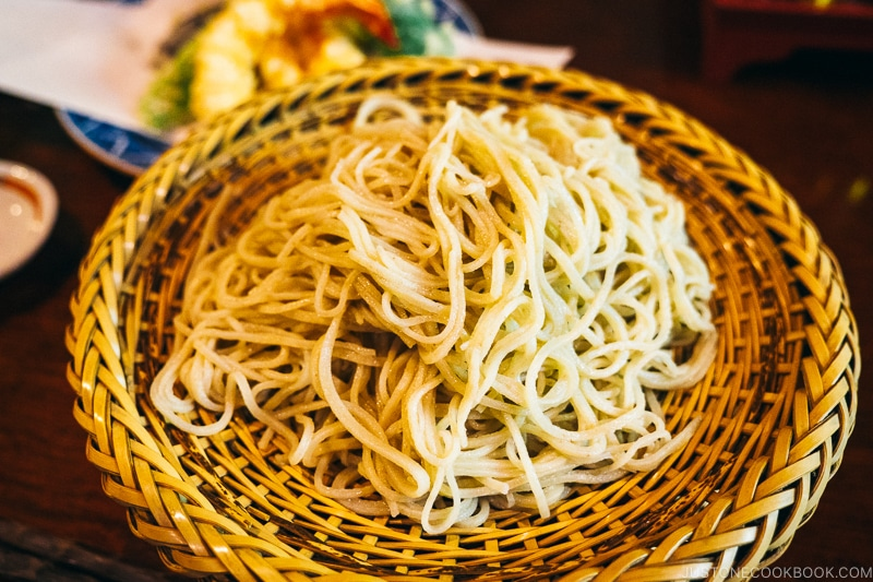 soba noodles on top of wood plate