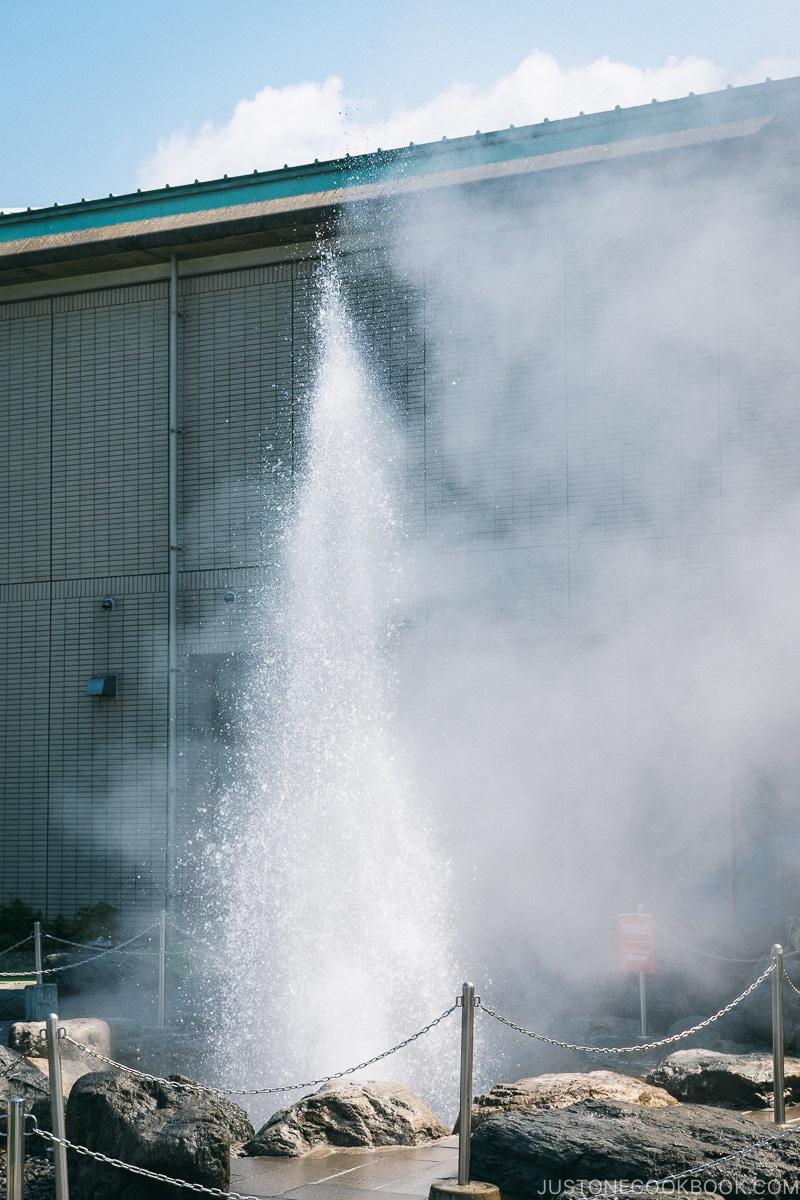 hot spring erupting at Suwa Lake Geyser Center