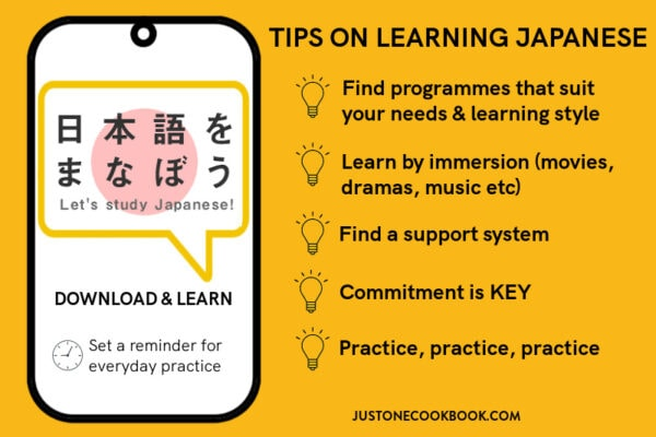 infographic on best tips and websites for learning Japanese
