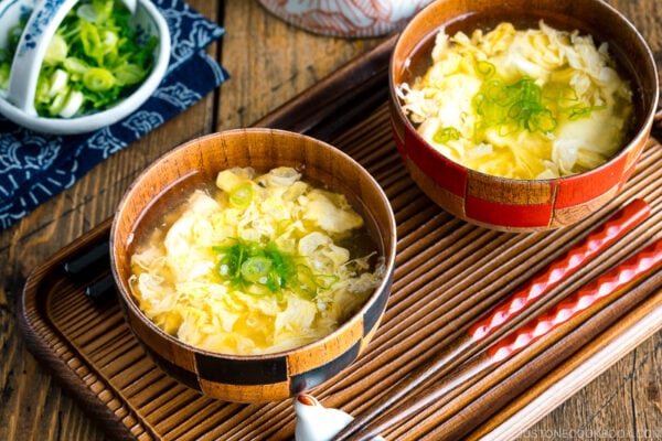 Wooden miso soup bowls containing Kakitamajiru, Japanese egg drop soup.
