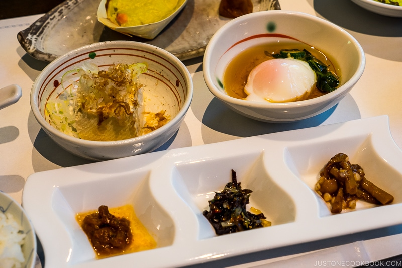 Japanese breakfast with food served in small dishes