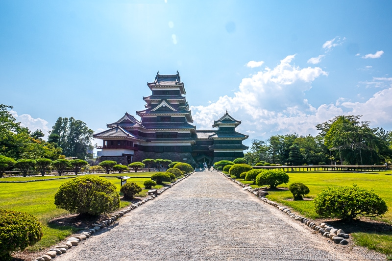 view of Matsumoto Castle and path leading up to it