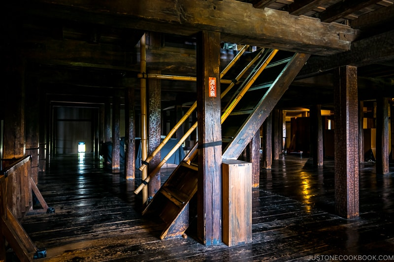 wood stairs and columns inside Matsumoto Castle