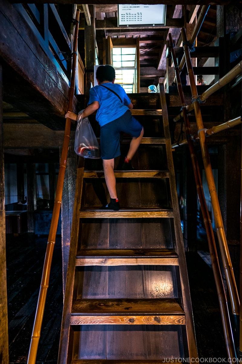 boy climbing wooden stairs