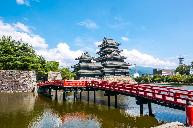 view of Matsumoto Castle and moat