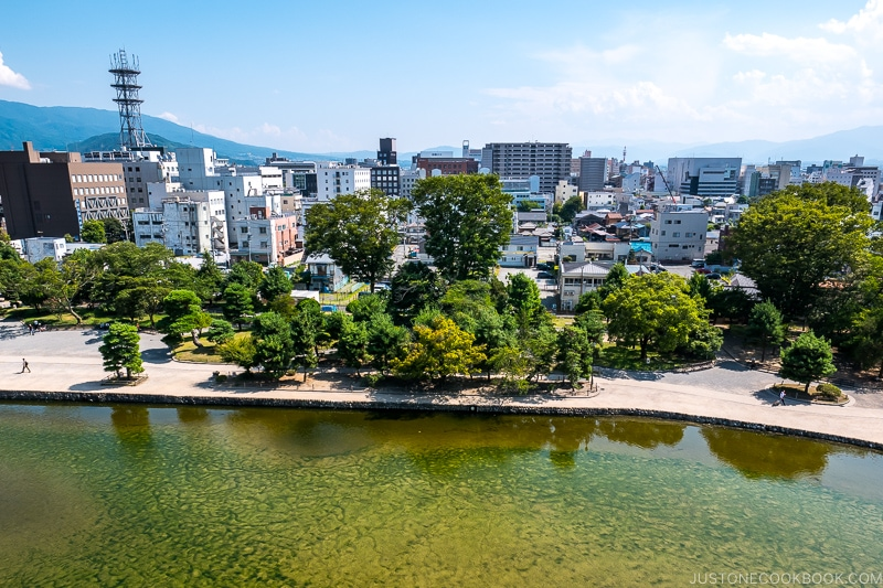 view of Matsumoto city from castle