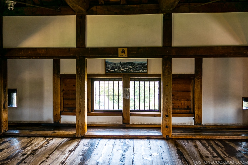 looking out the southern facing window from Matsumoto Castle keep