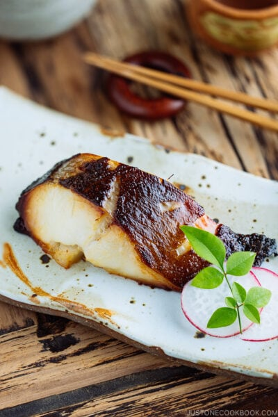 A plate containing Miso Cod.