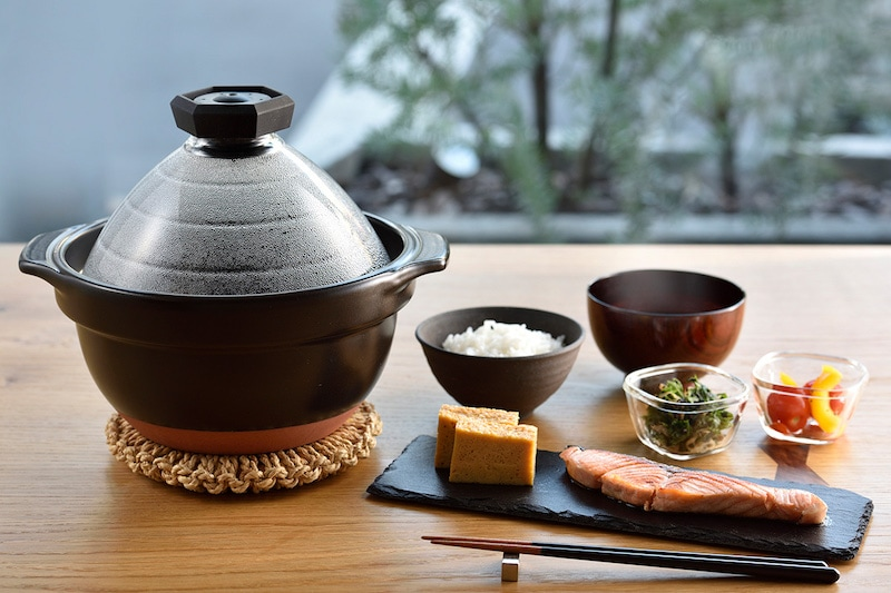 Hario rice cooker and Japanese set meal