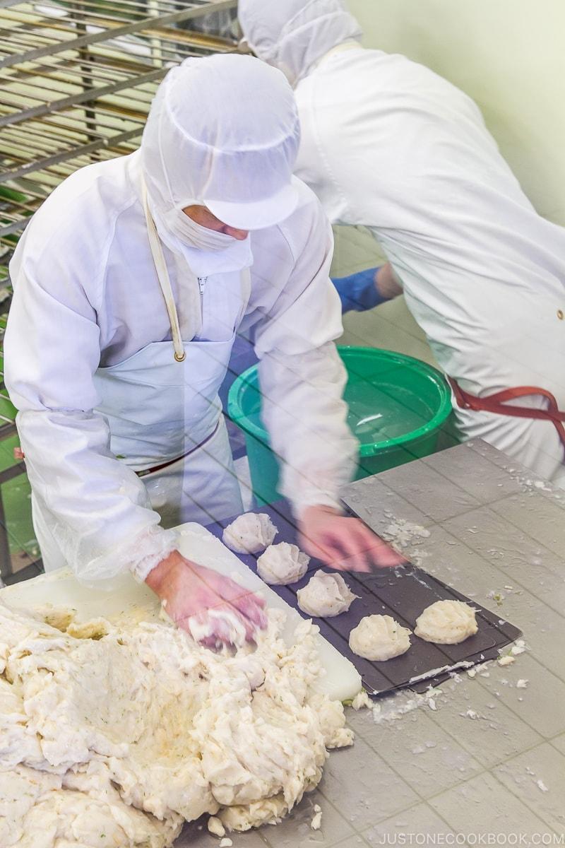 working making tempura from fish paste at Kamaei Otaru