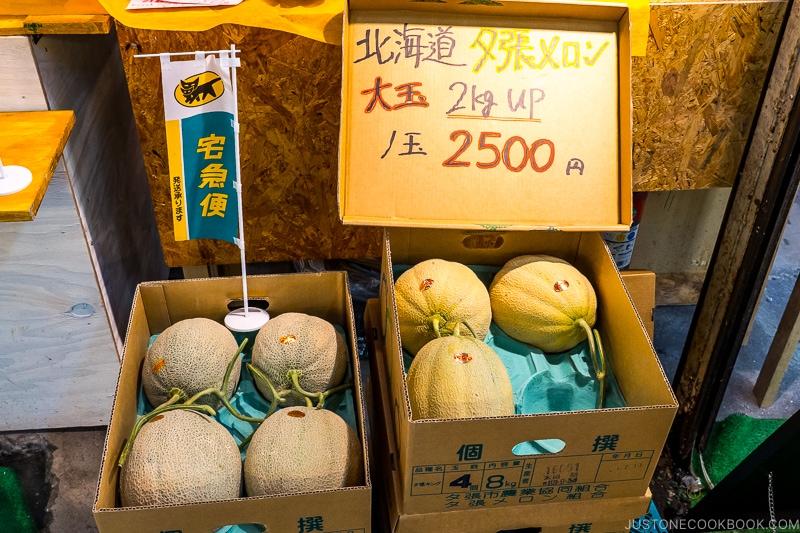 yubari melon inside paper boxes