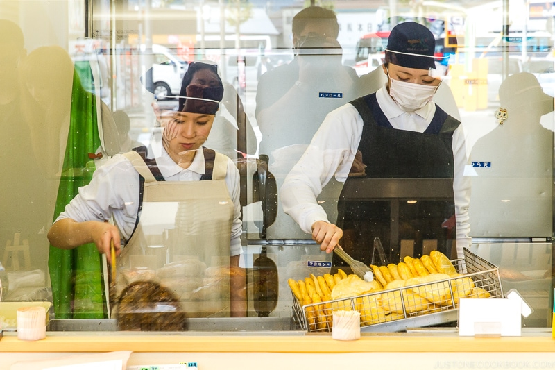 staff frying tempura at Kamaei Otaru