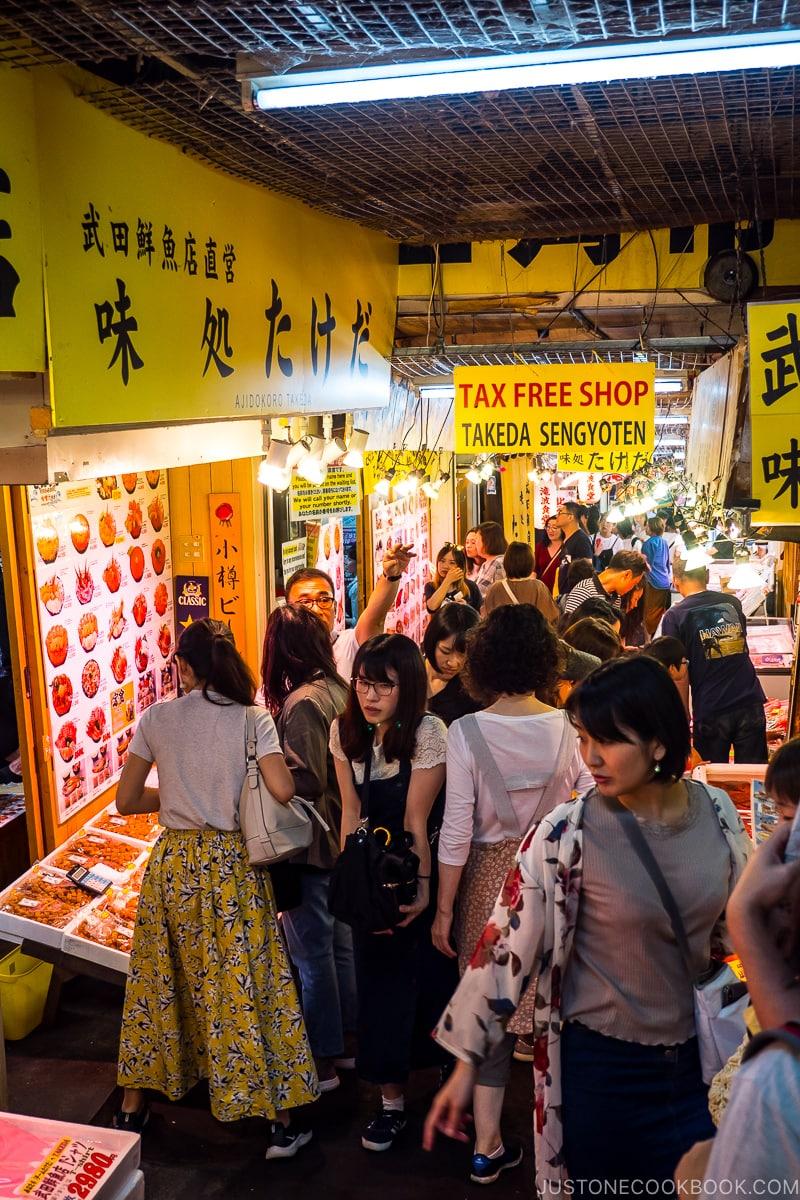 visitors waiting for table inside Otaru Sankaku Ichiba