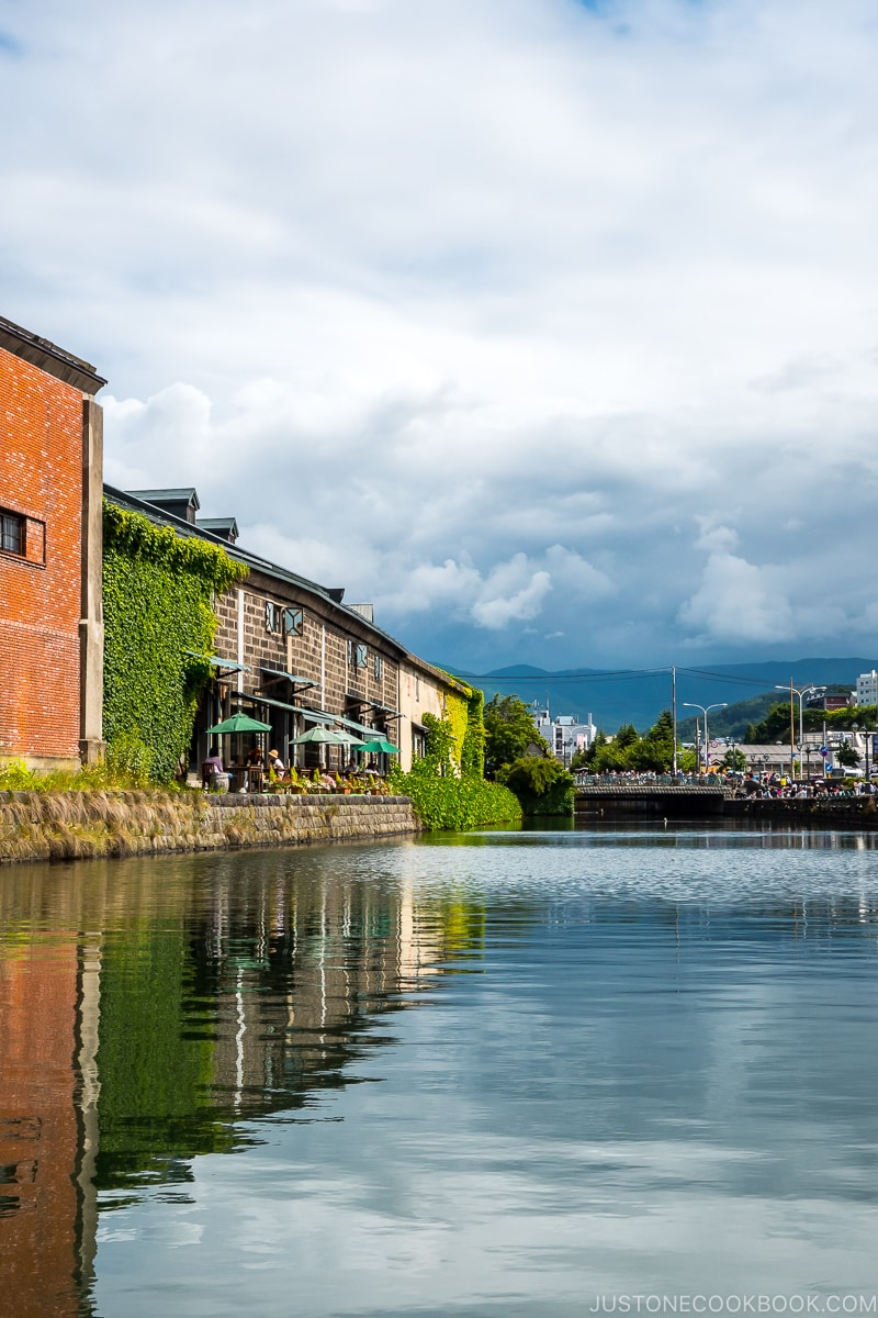 view of Otaru Canal from the cruise with warehouses on the left
