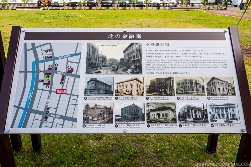 board showing Otaru's historic financial district and its buildings