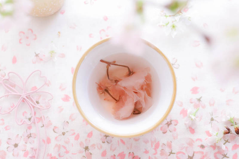 a bowl showing salt pickled sakura