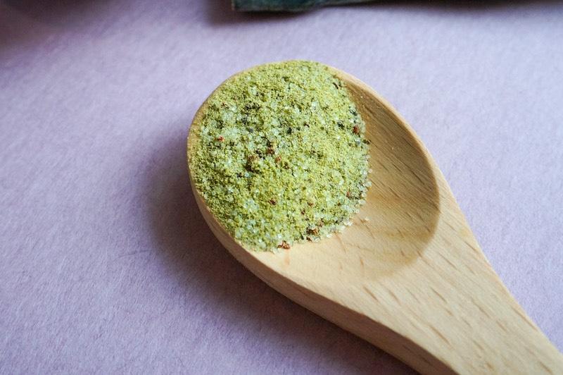 a wooden spoon showing ume konbu cha