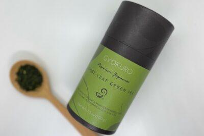 Gyokuru Green Tea leaves and packaging from Japanese Green Tea Company